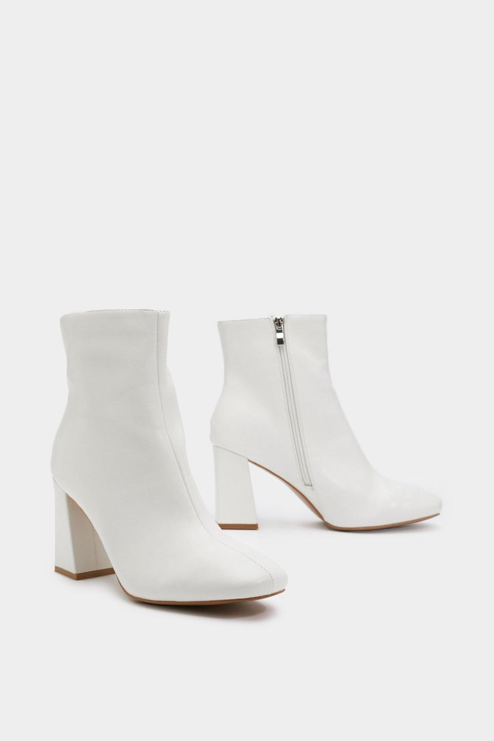 33365dfba7ee Womens White Hit Your Stride Faux Leather Ankle Boots. Hover to zoom
