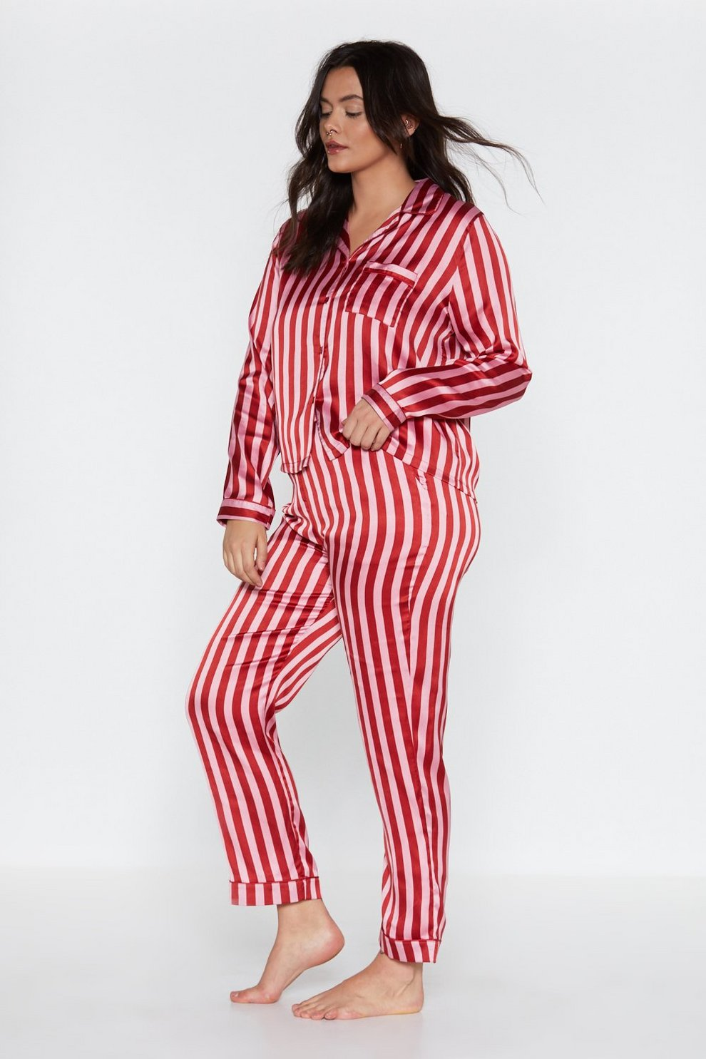 10c255f4426 Womens Red Just Like Candy Striped Satin Shirt and Pants Pajama Set