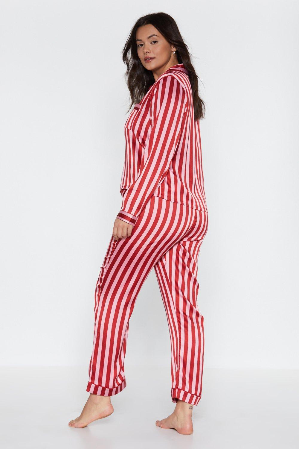 1fa738b77d Just Like Candy Striped Satin Shirt and Pants Pajama Set