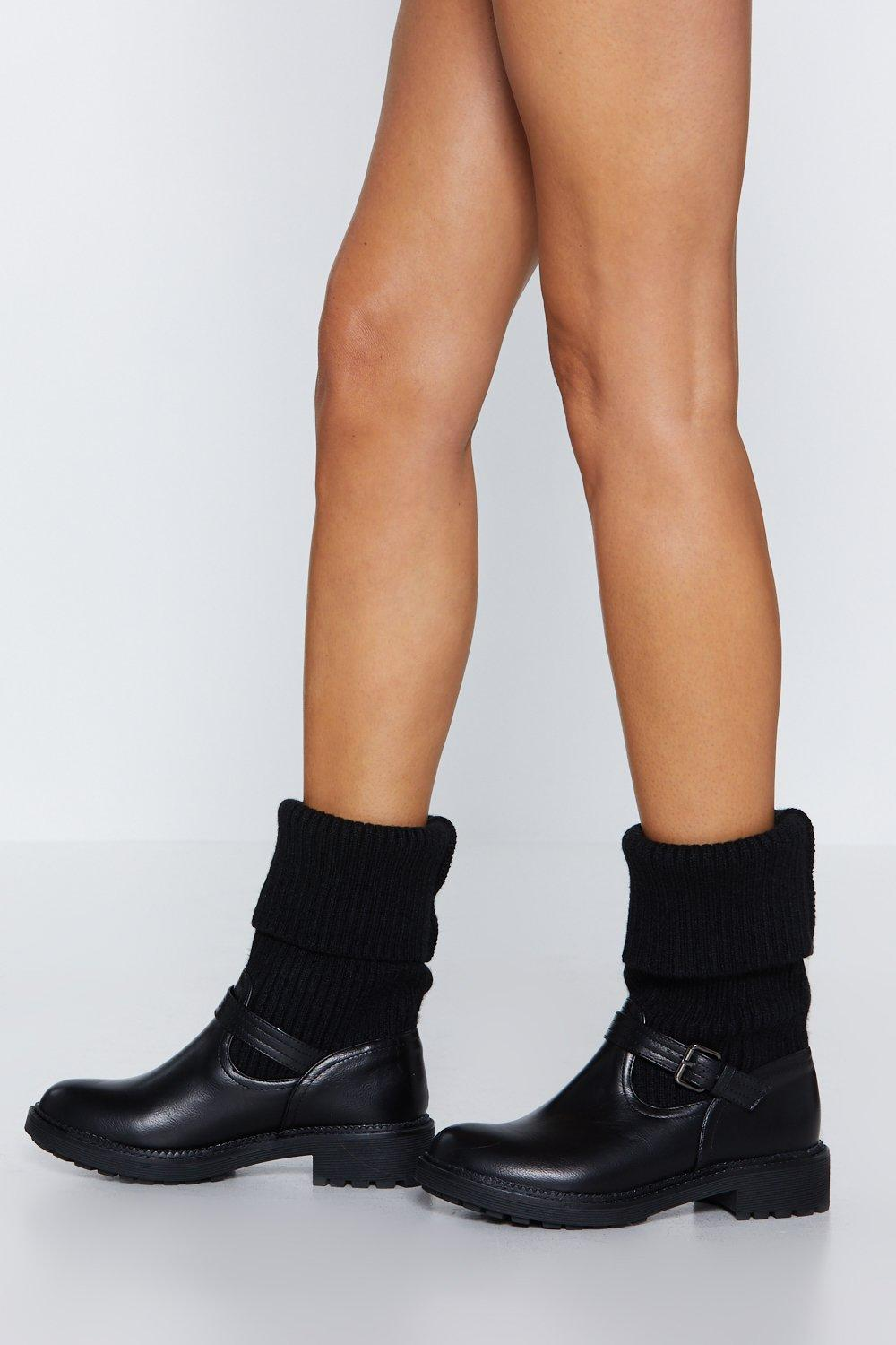 Truth Be Fold Knit Boot by Nasty Gal