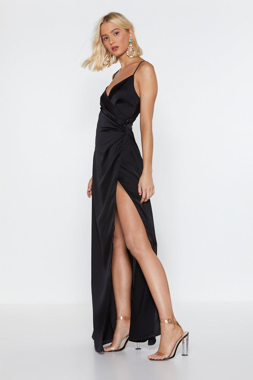 d321bf60754 Womens Black Cowl Play Satin Maxi Dress. Hover to zoom
