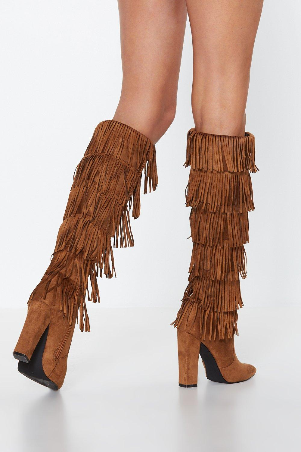 9162e8fb8e951 Lead the Sway Fringe Knee-High Boot | Shop Clothes at Nasty Gal!
