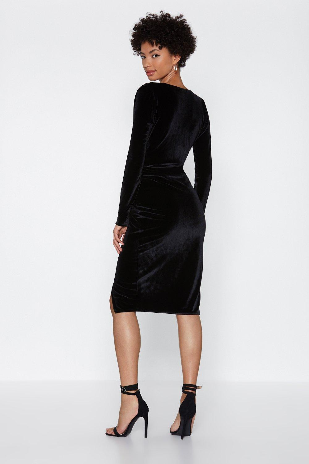 33bac61b4ca Womens Black It s a Wrap Velvet Dress. Hover to zoom
