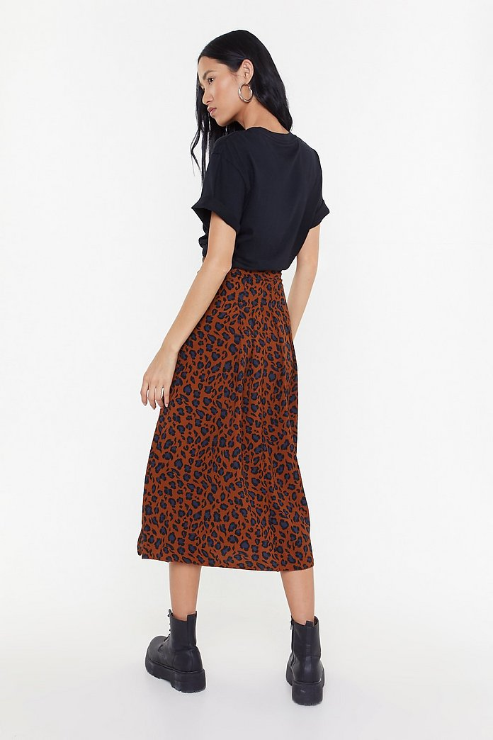 Plus Size Black Dalmatian Print Double Split Midi Skirt