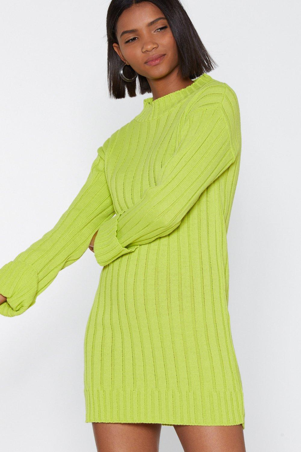 76145190cfe Womens Lime Knit Interested Sweater Dress.