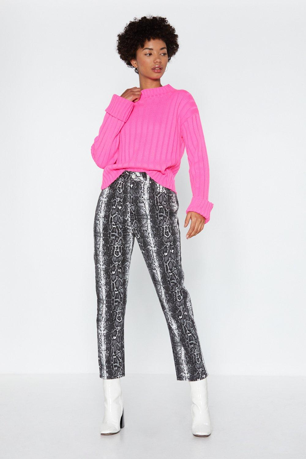 21bb2a365 Womens Neon-pink  Let s Turn Up  Neon Turtle Neck Jumper.