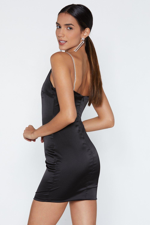 3747dd670cb Womens Black It s My Party Satin Bodycon Dress.