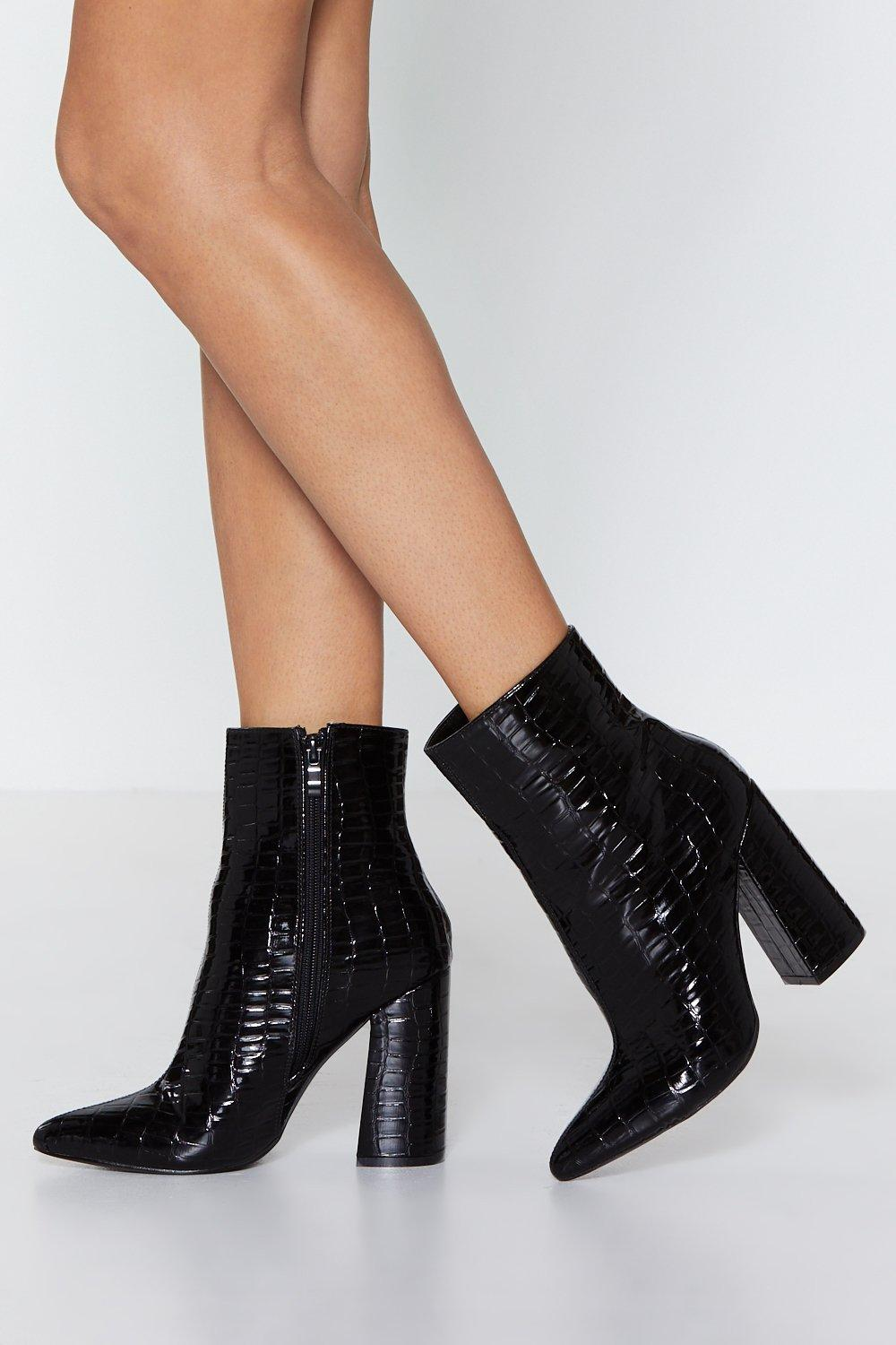 2c06c5b3ed Croc Out Faux Leather Ankle Boot