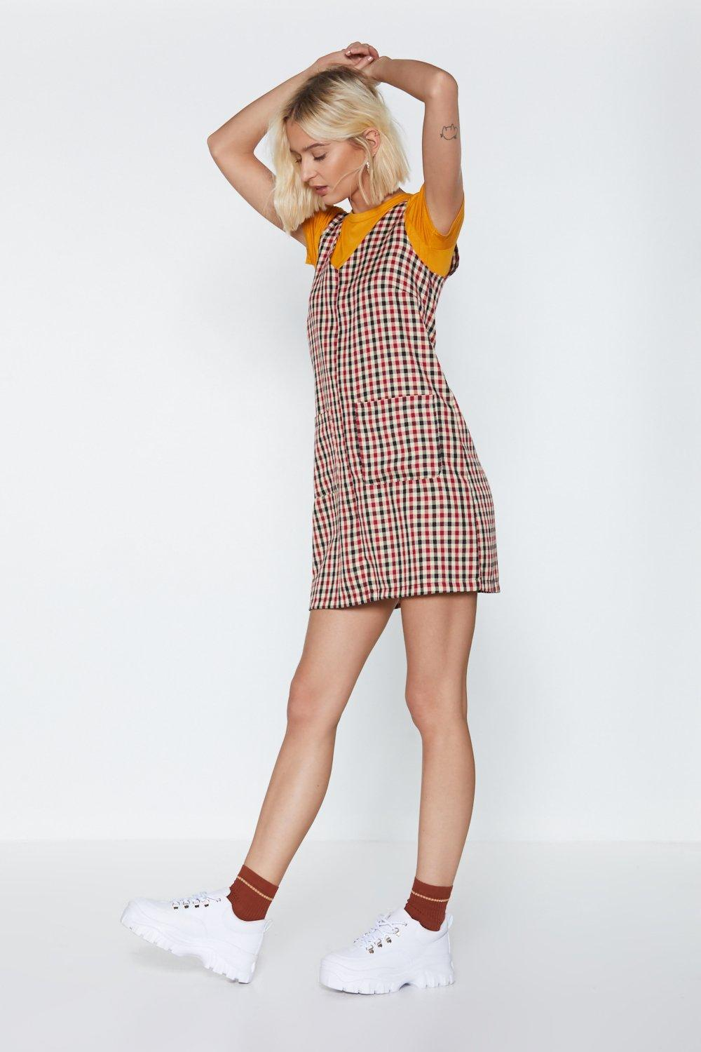 926245010f6 Womens Beige Plaid Games Pinafore Dress. Hover to zoom