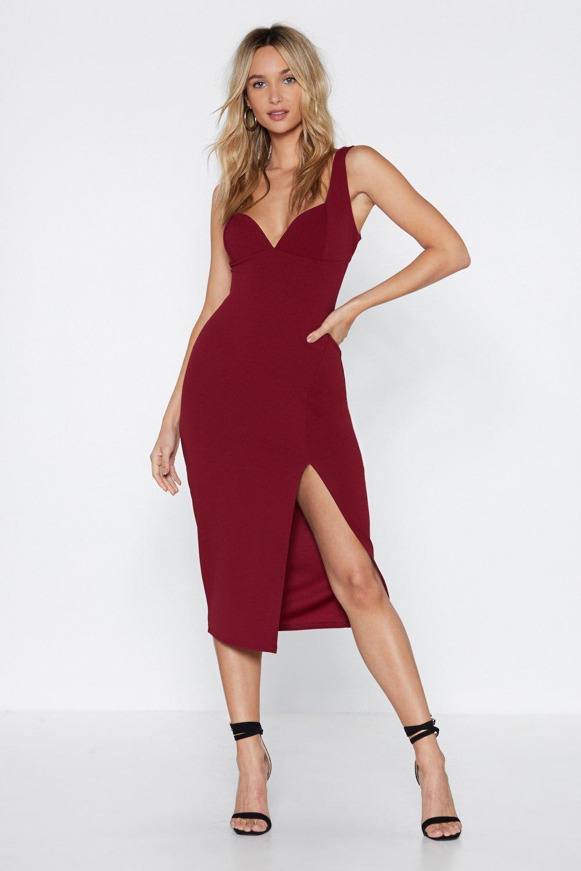 7b8f07427a8 Womens Berry Plunge Down Midi Dress