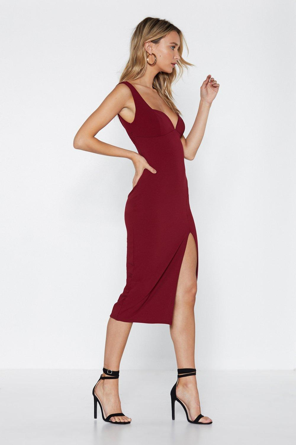 940f5df554c8 Plunge Down Midi Dress   Shop Clothes at Nasty Gal!