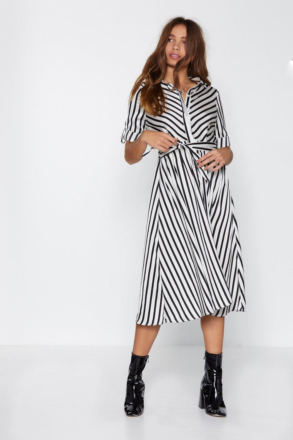 1c80ab50f08 Womens Black American Dream Striped Midi Dress