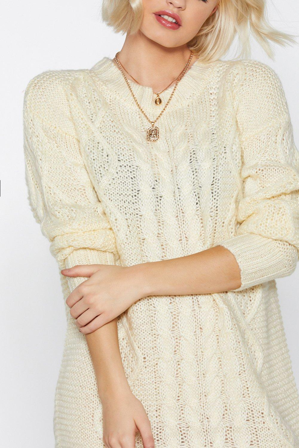 ec7096037e6 Womens Cream It s Knit Sweater Dress. Hover to zoom