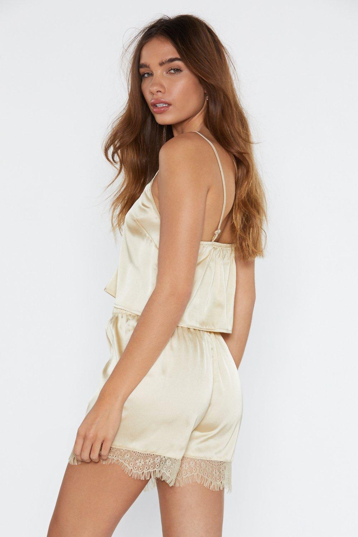 fc4252a0cbb Lace Me Go Satin Crop Top and Shorts Pajama Set   Shop Clothes at ...