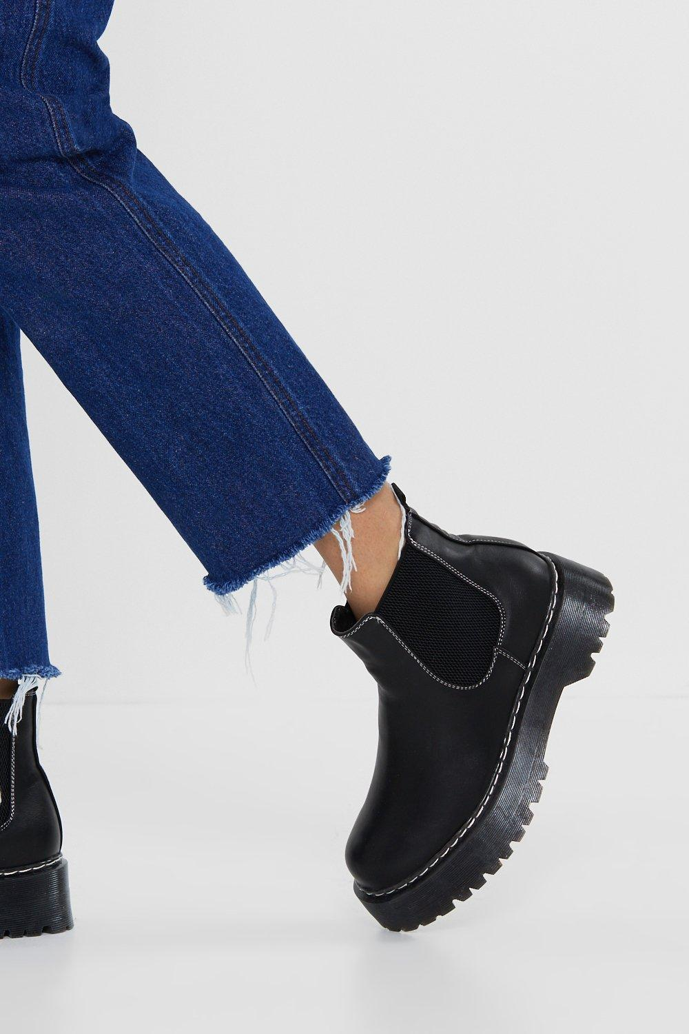 229b082c37549 Faux Leather Chunky Chelsea Boot   Shop Clothes at Nasty Gal!
