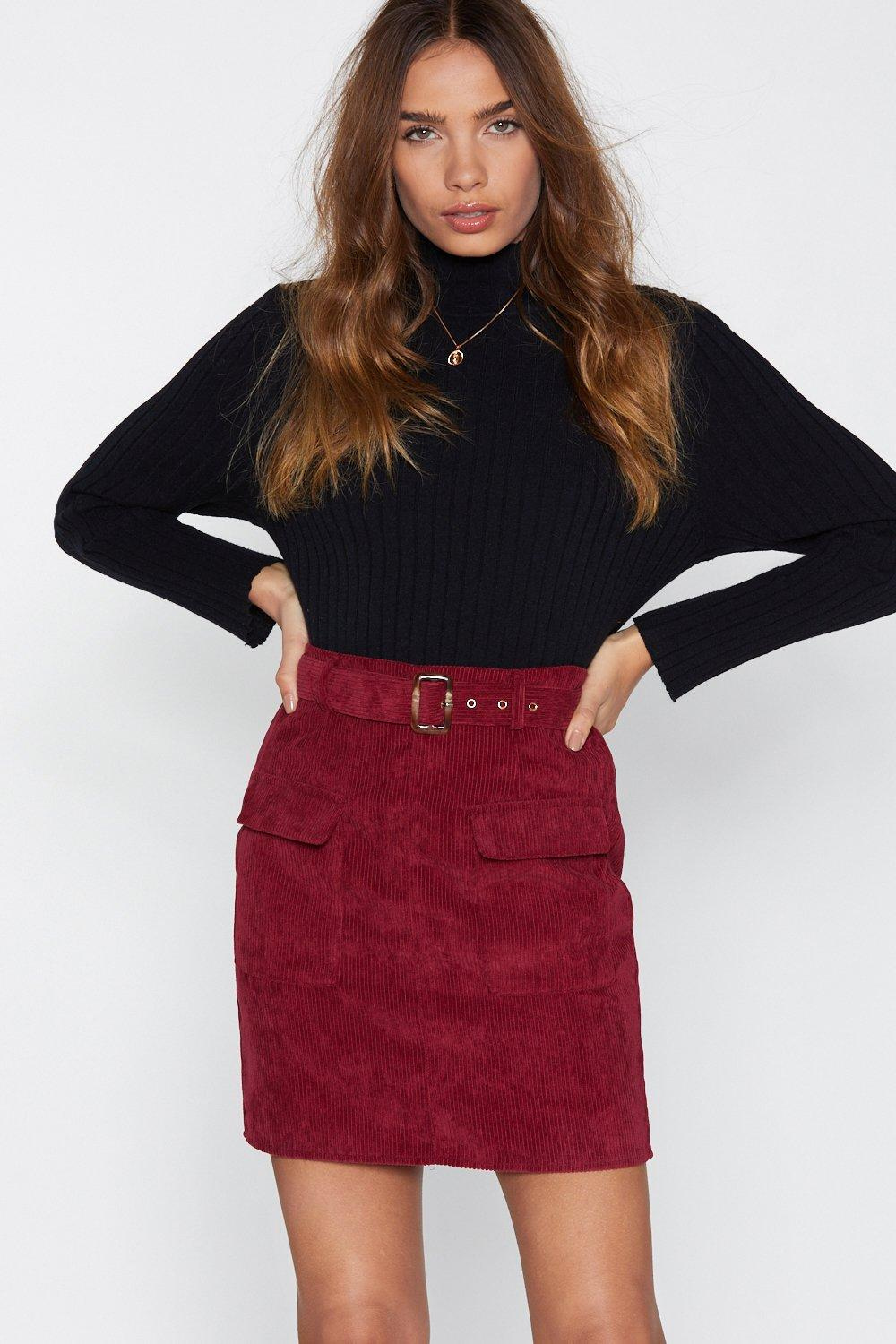 3536b426ee31 Womens Dark red Really Belt That One Corduroy Skirt. Hover to zoom