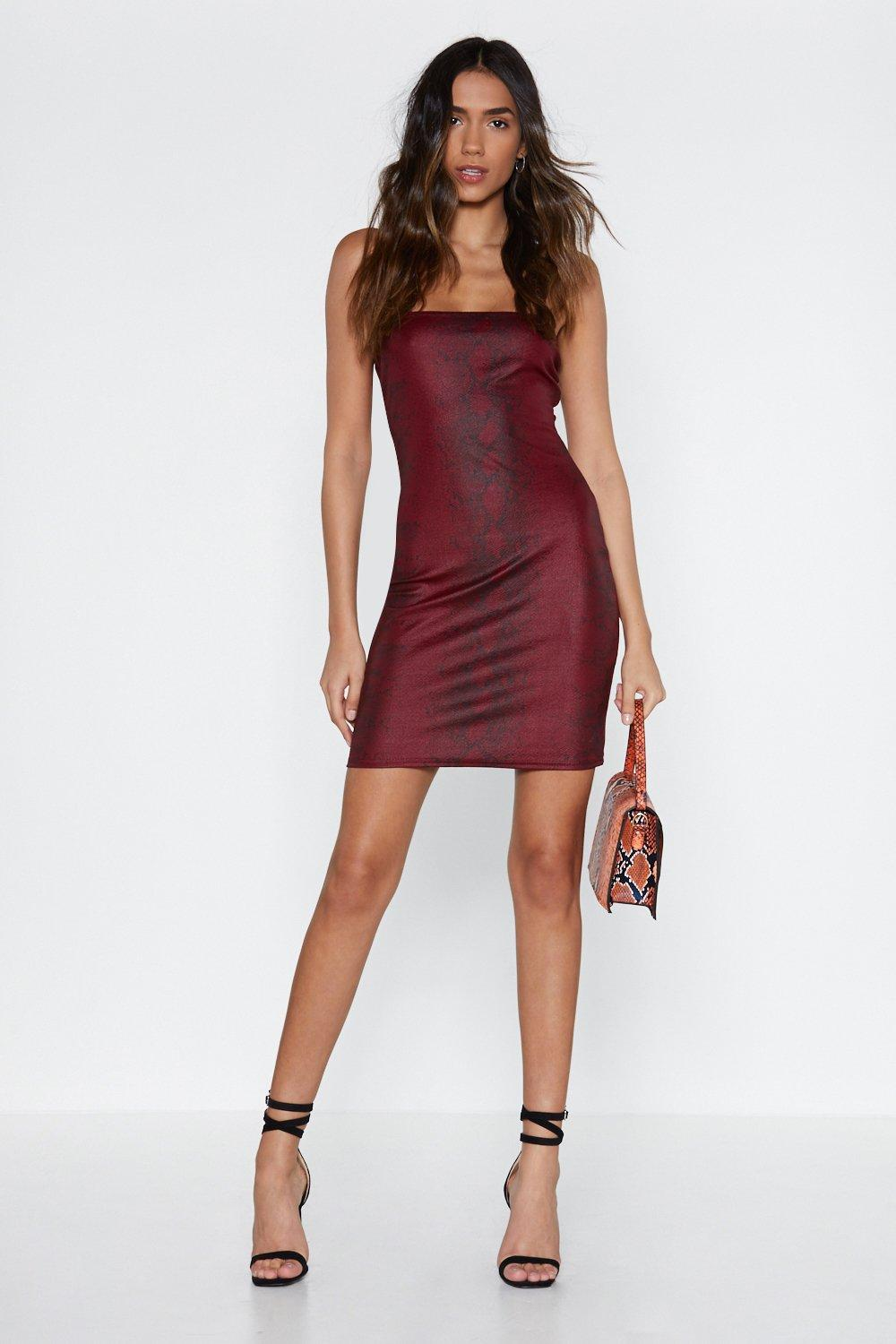 7aad477fa4e Womens Red Calming the Snake Patent Dress. Hover to zoom