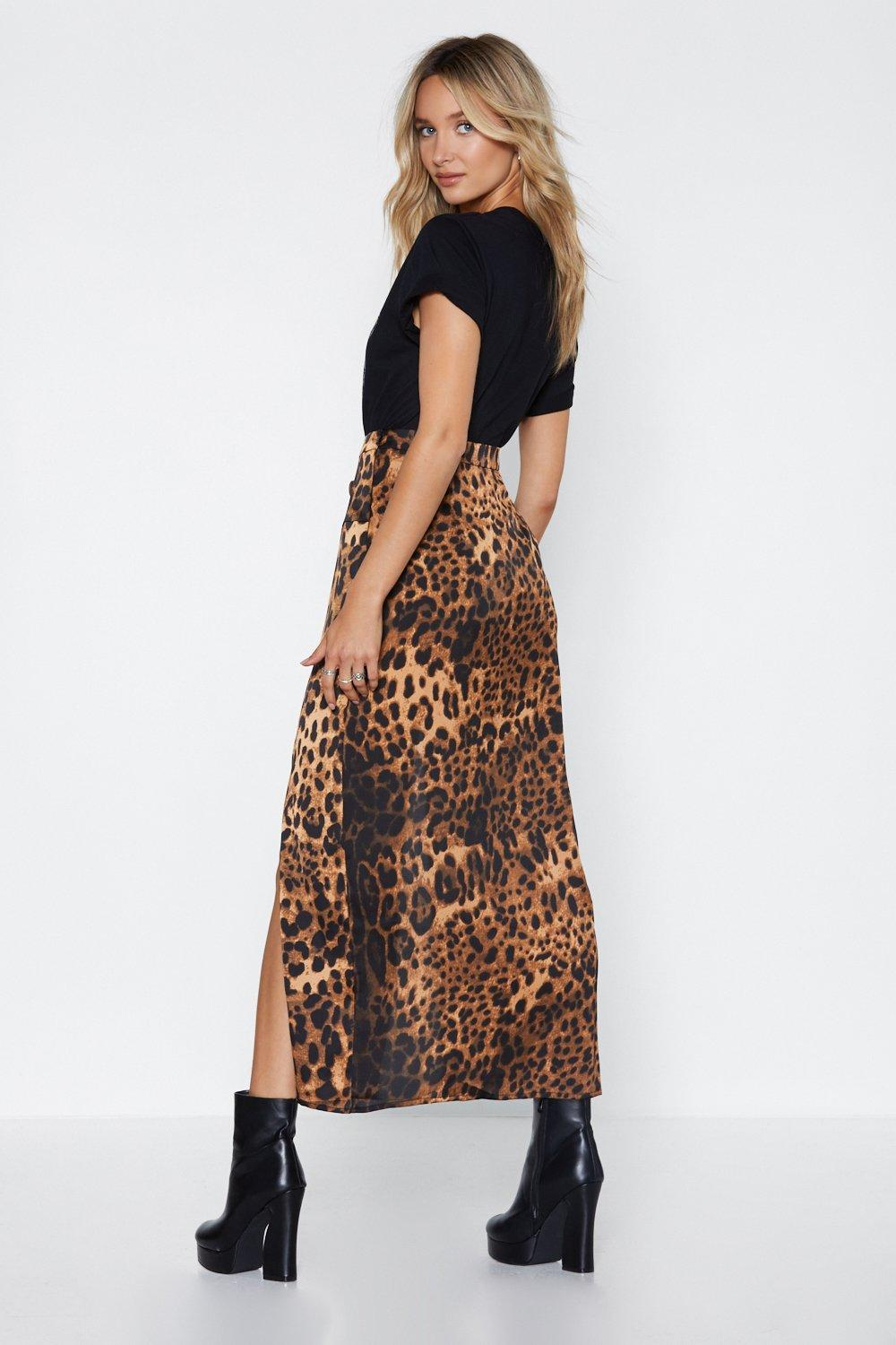 072b1e906de Womens Brown I Want It That Way Leopard Maxi Skirt