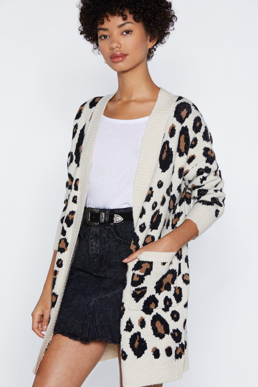 22e3bf1bb6 Womens Cream Hear Meow-t Leopard Cardigan.