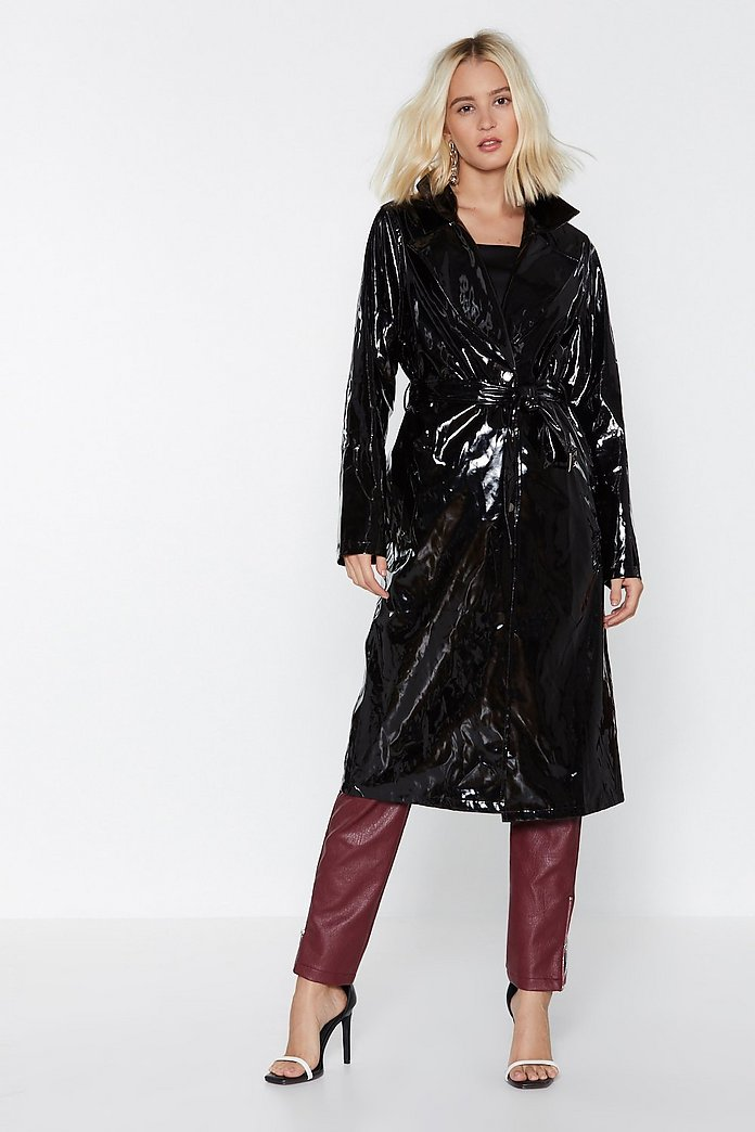 noveldesign Clearance sale designer fashion Have the Vinyl Say Trench Coat | Shop Clothes at Nasty Gal!
