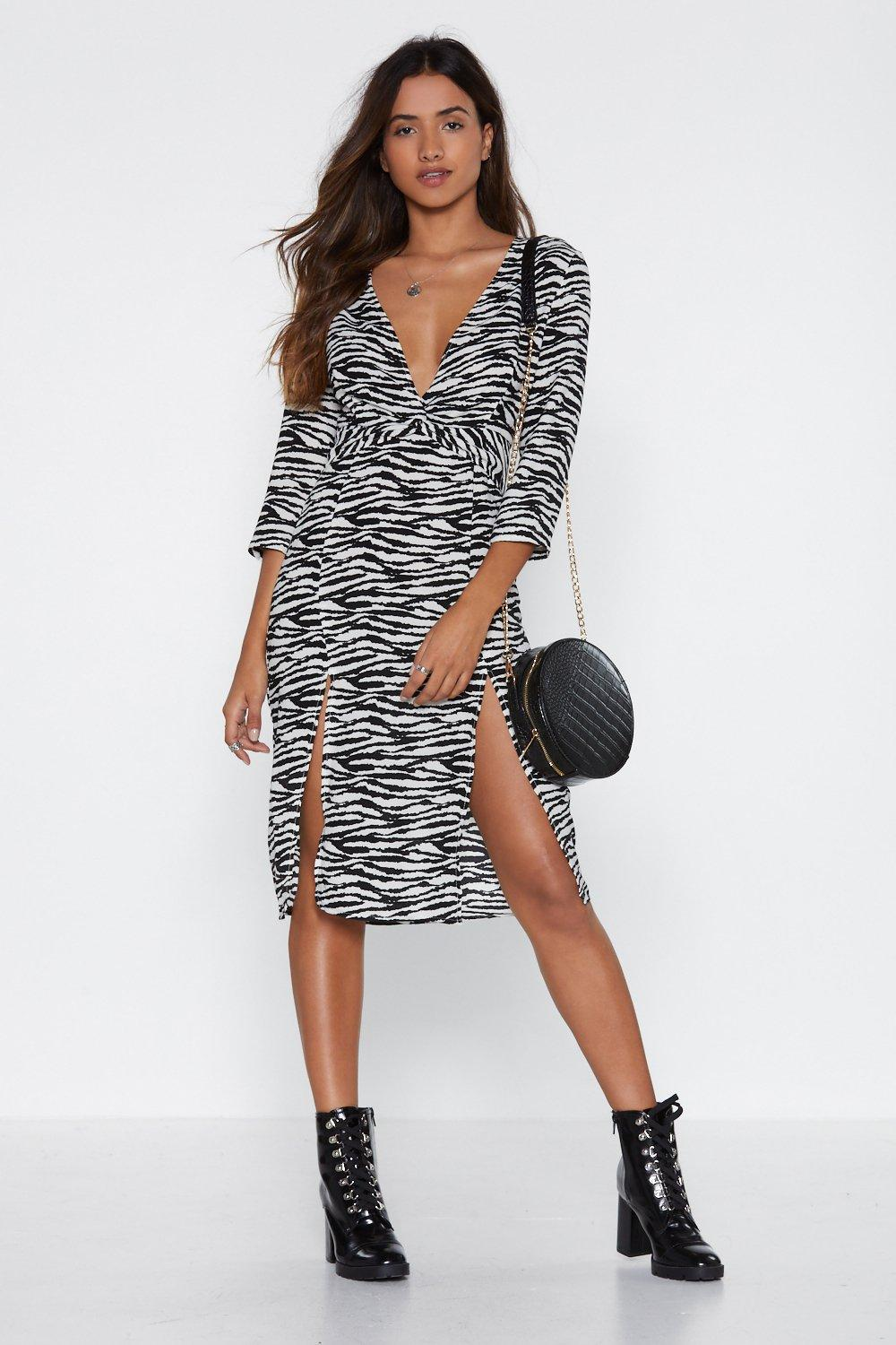 9550a1b7638b Knot the End of the World Zebra Midi Dress. Hover to zoom