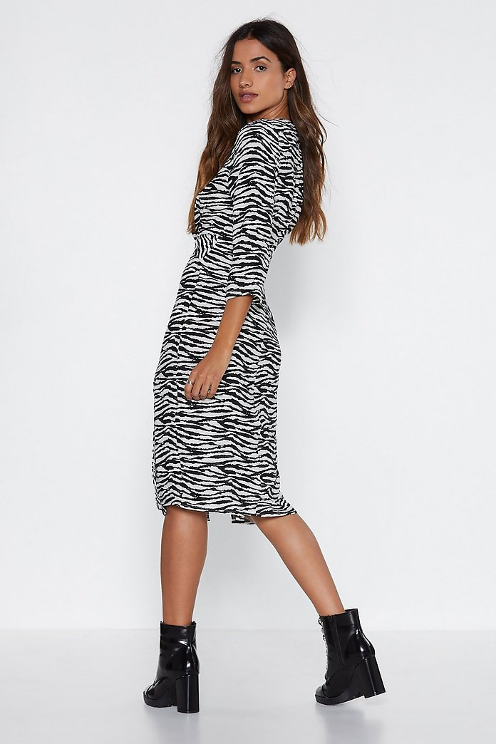 Knot the End of the World Zebra Midi Dress | Shop Clothes at Nasty Gal!