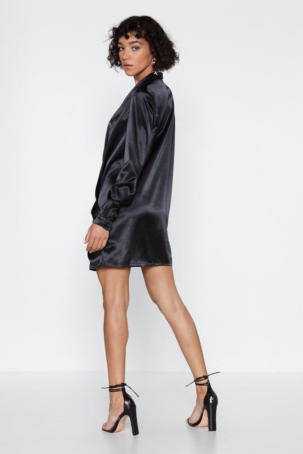 c4bbcb497f Open Up Satin Shirt Dress. Hover to zoom