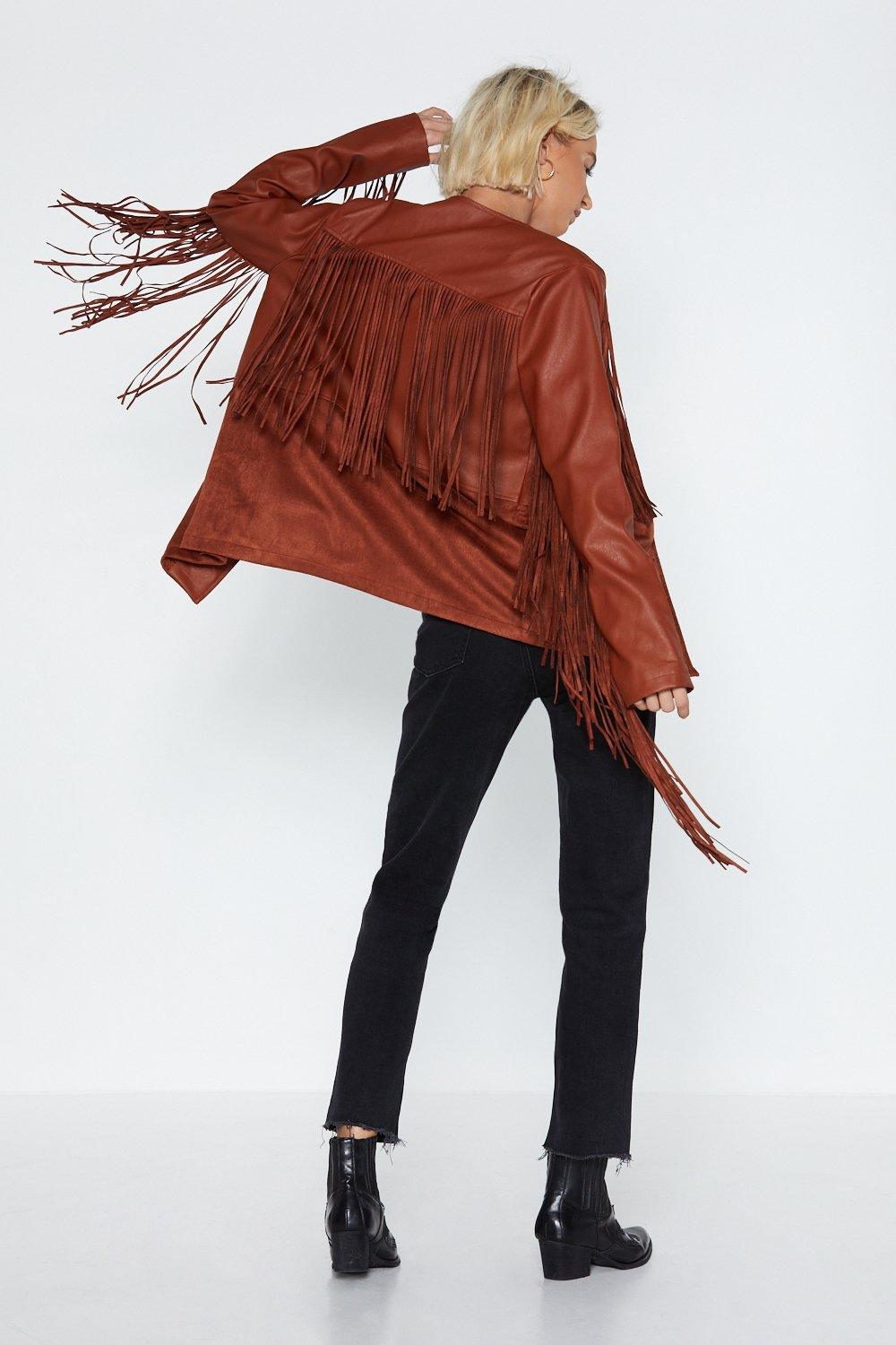 Fringe With Benefits Faux Leather Jacket by Nasty Gal