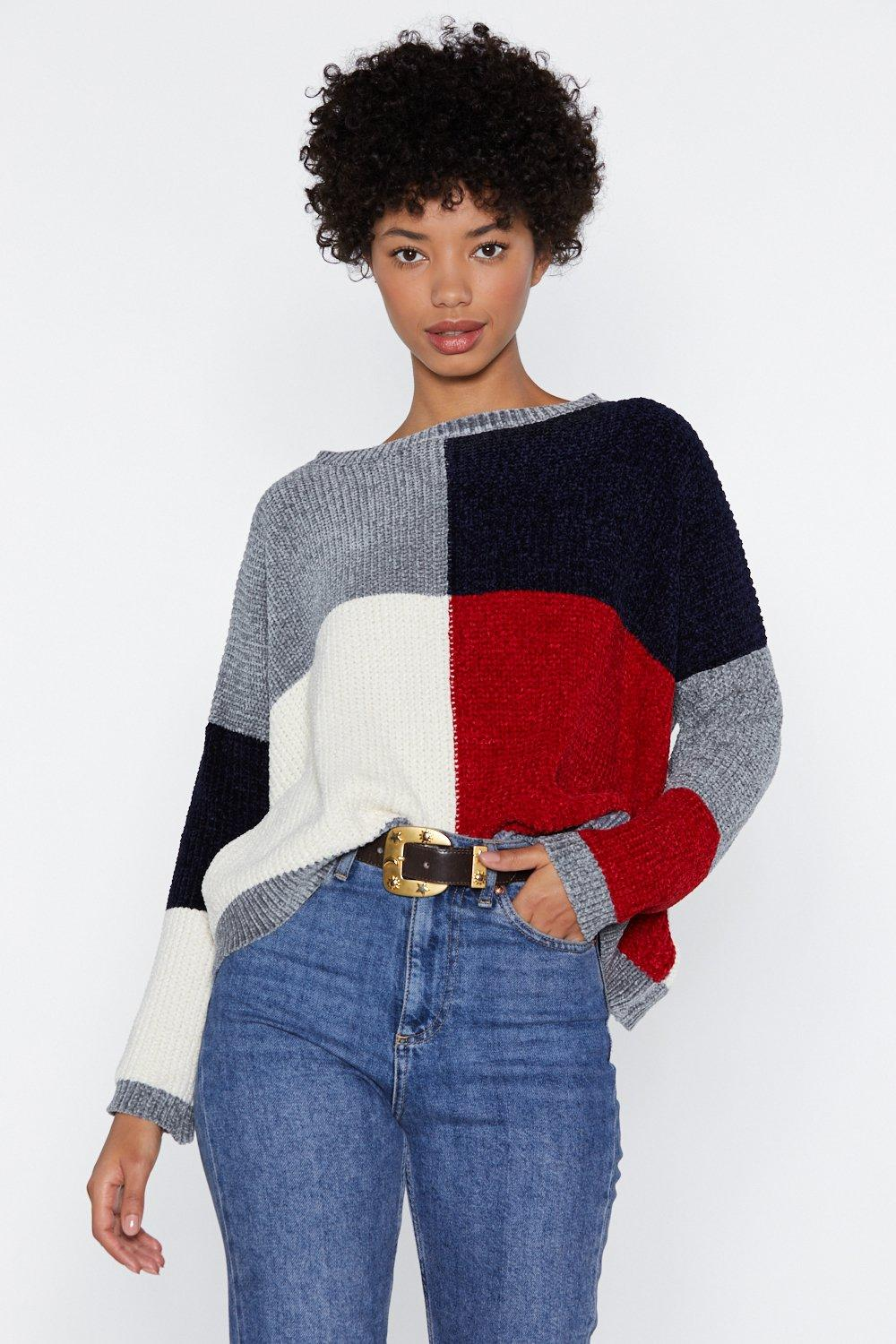 42f893bff You ve Been Color Block-ed Chenille Sweater