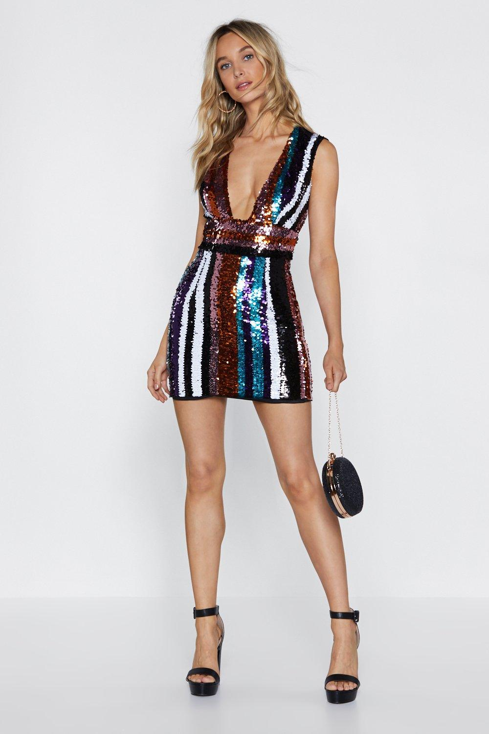 ecb067fc6644 Going in Sequin Plunge Dress