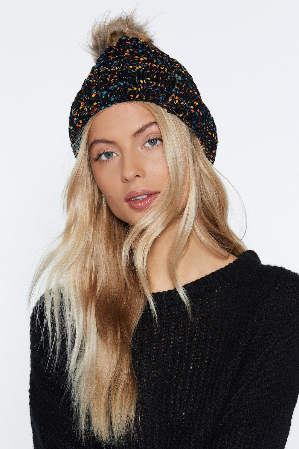 Multi Cable Knit Beanie With Faux Fur Pom  a3928326d03