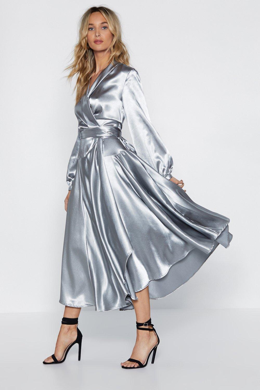Silver Satin Dress