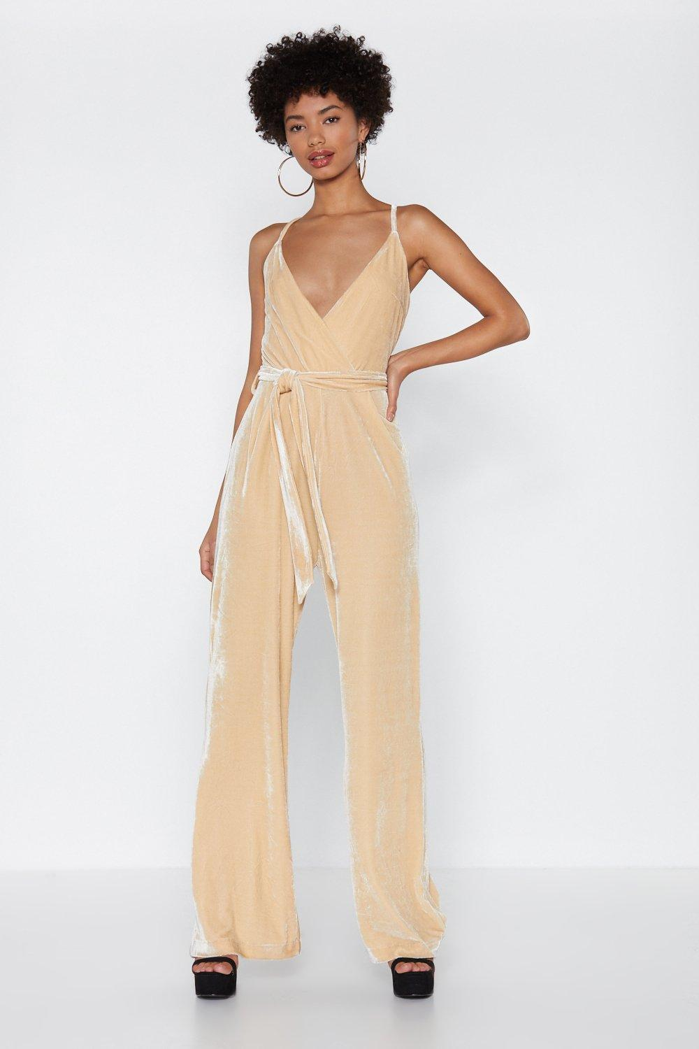 1db48833c17 Velvet Wrap Wide Leg Jumpsuit. Hover to zoom