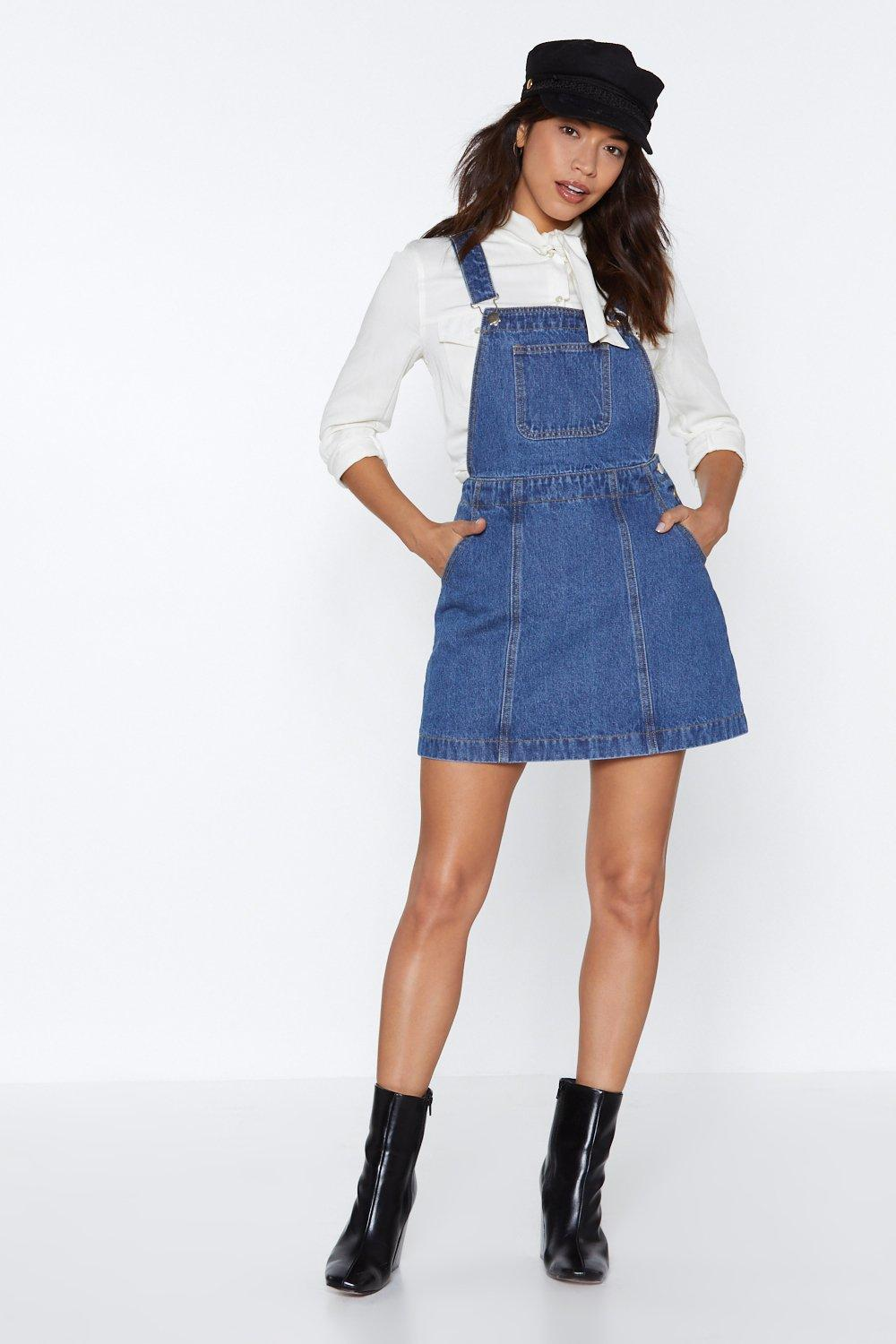 d29afe016 Womens Blue Play Nice Denim Pinafore Dress