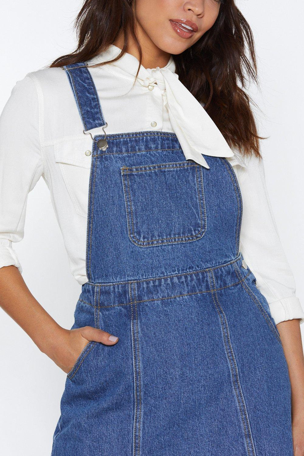 5f3b044626d Play Nice Denim Pinafore Dress. Hover to zoom
