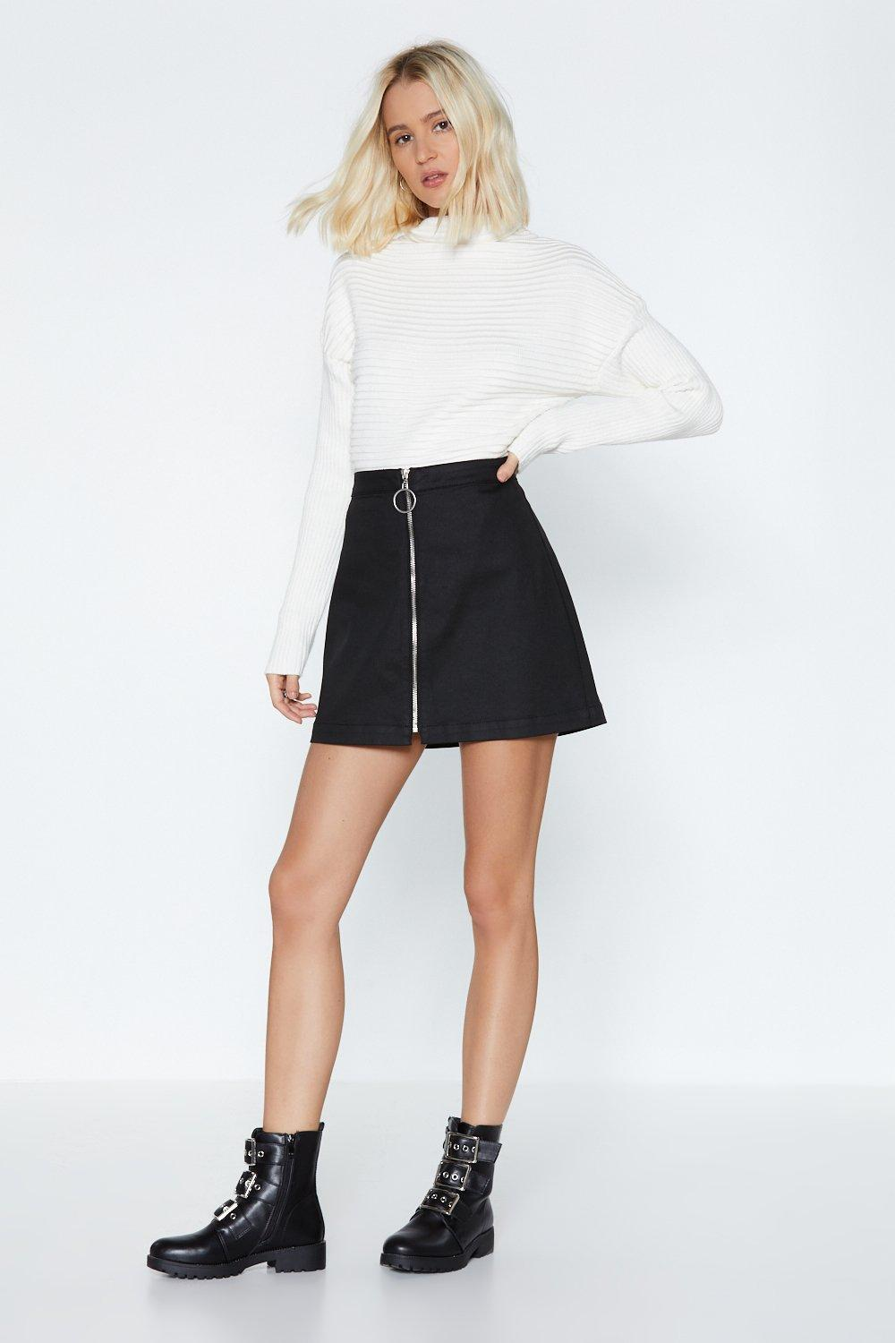 dfbc180d7a Hover to zoom · Womens Black Zip It Mini Skirt