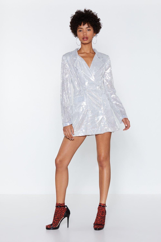 62c2783f11 Womens Silver Back in a Flash Sequin Blazer Dress