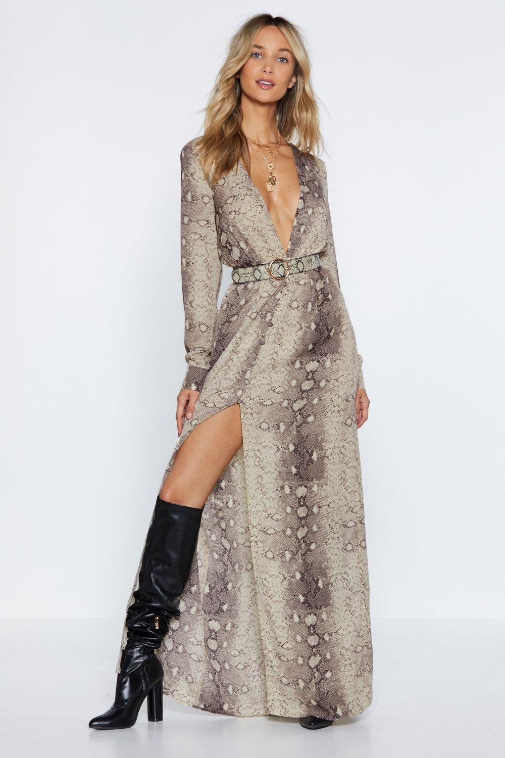 16af7be457e Womens Brown Snake An Excuse Maxi Dress