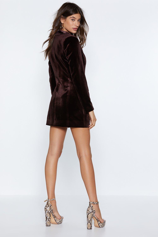 fb472dc9e23 Womens Chocolate I m Busy Velvet Blazer Dress