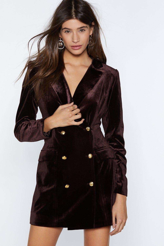 6f16fe446e2 Womens Chocolate I m Busy Velvet Blazer Dress.