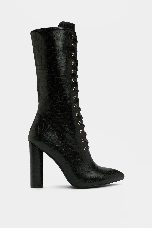 01689af43 Womens Black On the Upside Croc Boot.