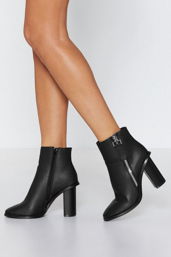 zip-side-pu-heeled-ankle-boot by nasty-gal