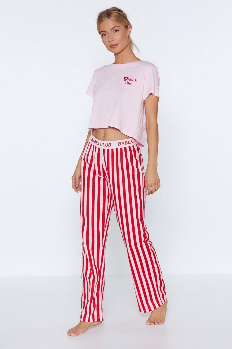 6604148e96 Babes Club Crop Top and Pants Pajama Set