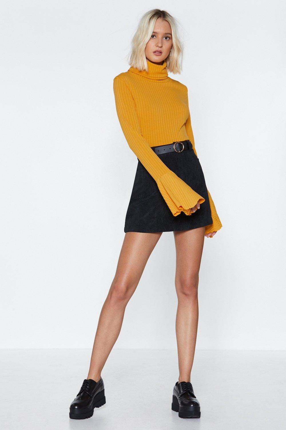 a61064977f7515 Womens Mustard Flare to Dream Turtleneck Sweater. Hover to zoom