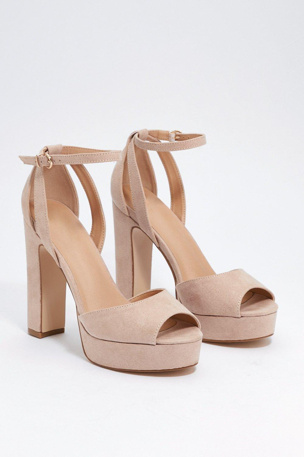 bfe59080448 Womens Nude Two-Part of Glass Heel