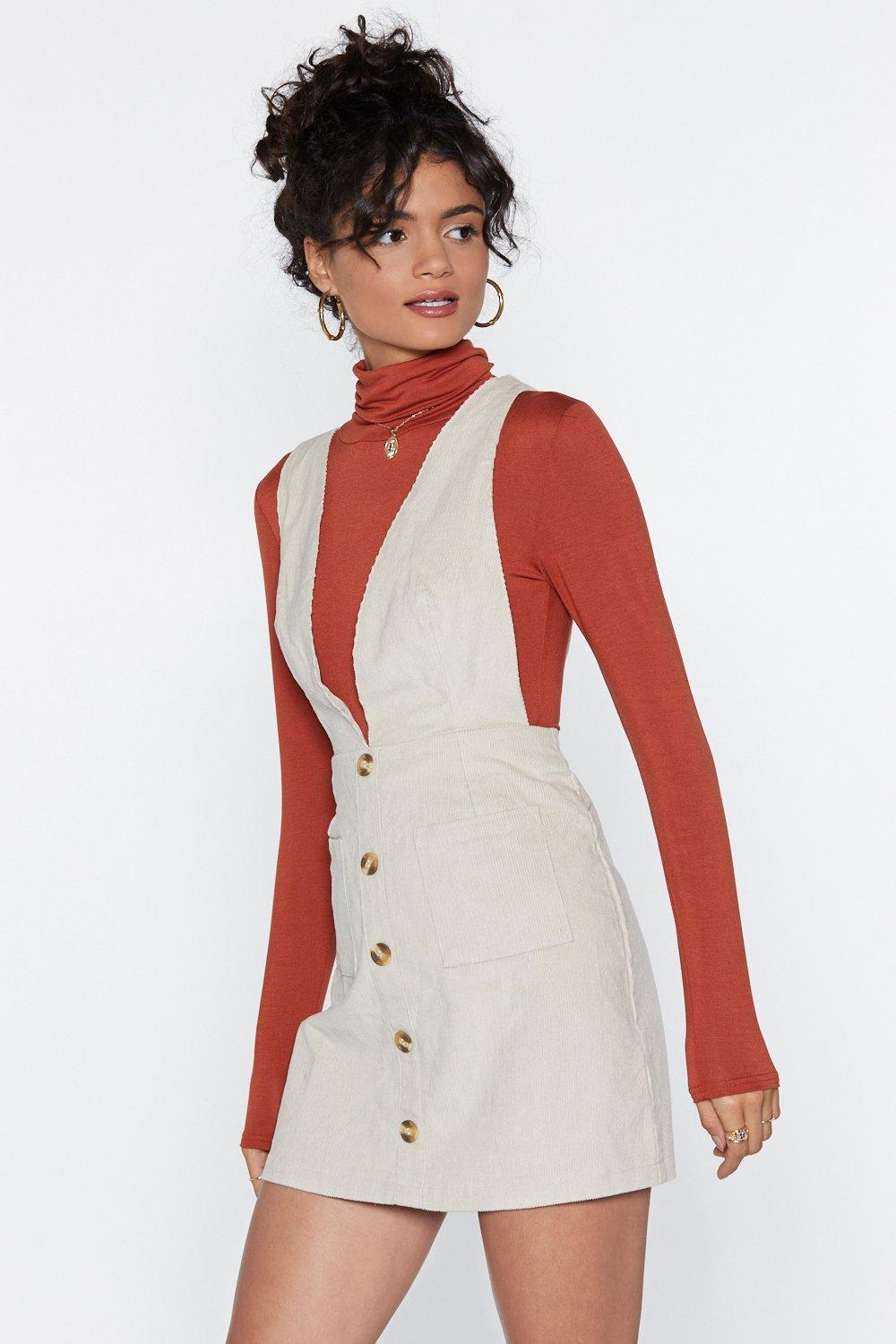 bedbd368f73 Womens Cream All Eyes Button You Pinafore Dress. Hover to zoom