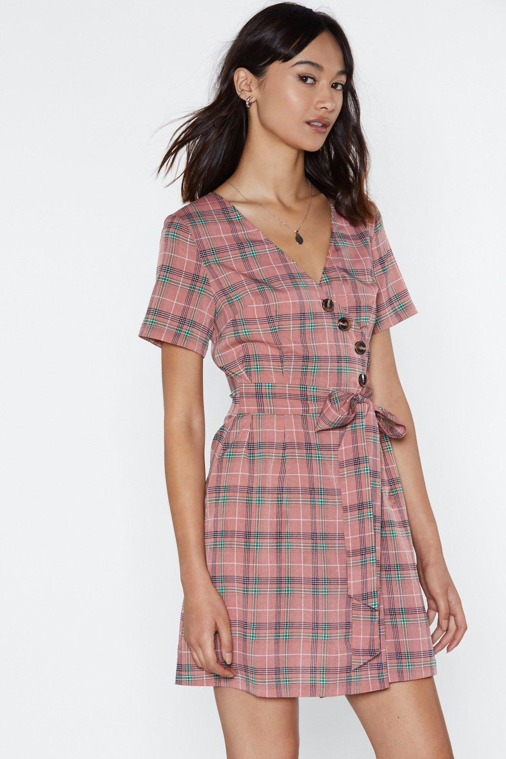 eb554775e1d Womens Pink Plaid Luck Wrap Dress