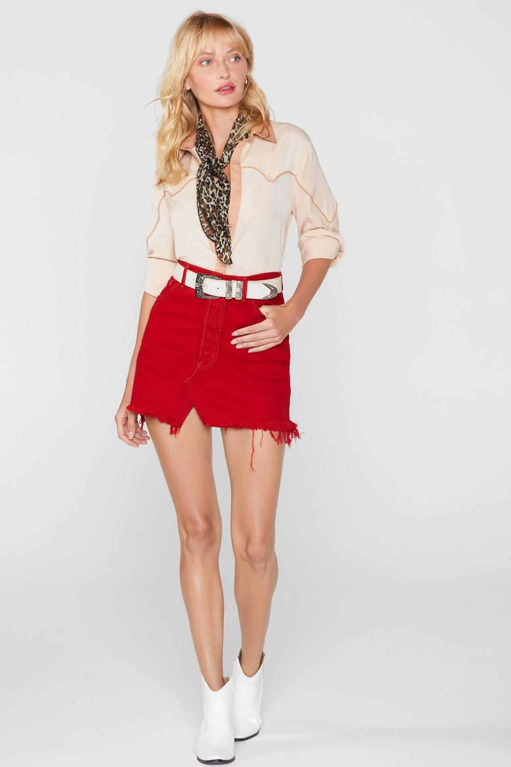 6c73522ae9e5a7 Womens Red After Party Vintage One More Mini Denim Skirt. Hover to zoom