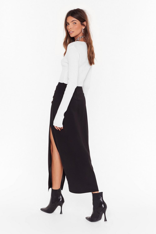 f902ab56fc19 Womens Black Can't We Just Slit Down Midi Skirt