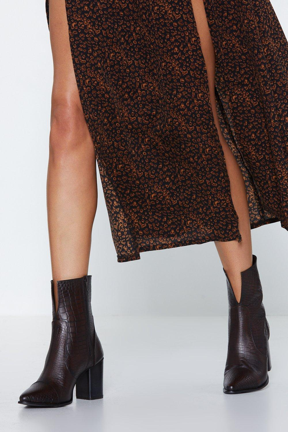 Crocodile Rock Leather Boot by Nasty Gal